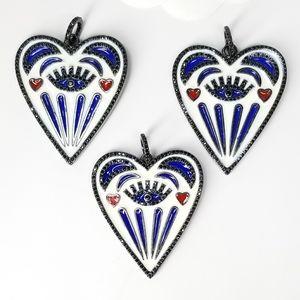 NEW Heart Evil Eye Enamel Pendant Charm Necklace